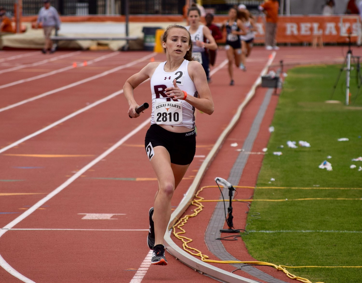 Megan Nevlud and the Round Rock girls' 4x800-meter relay team of Lauren Willson, Riley Beard and Amirah Creighton set a new school record with a time of 9:36.89, winning the event at the Texas Relays on Saturday.