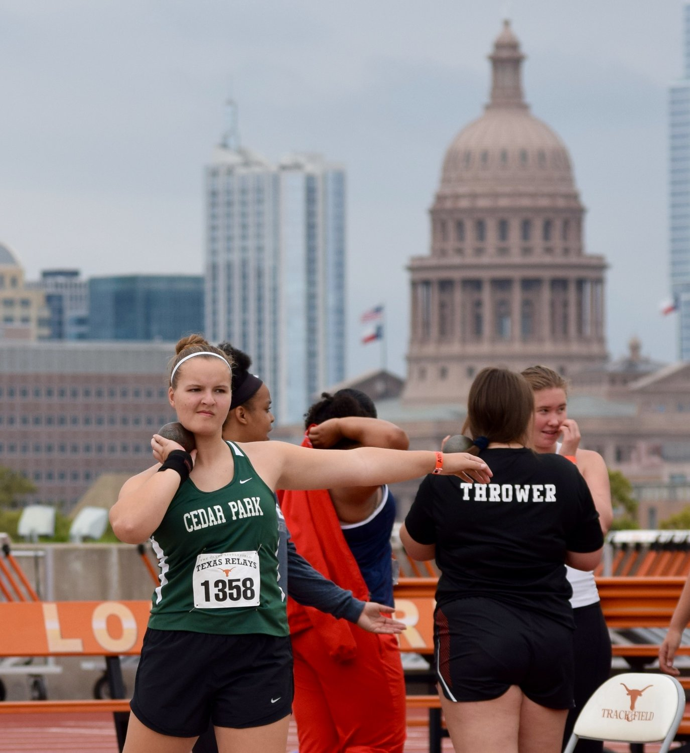 Cedar Park freshman Grace Aggen competed in the shot put competition at the Texas Relays Saturday at the University of Texas.