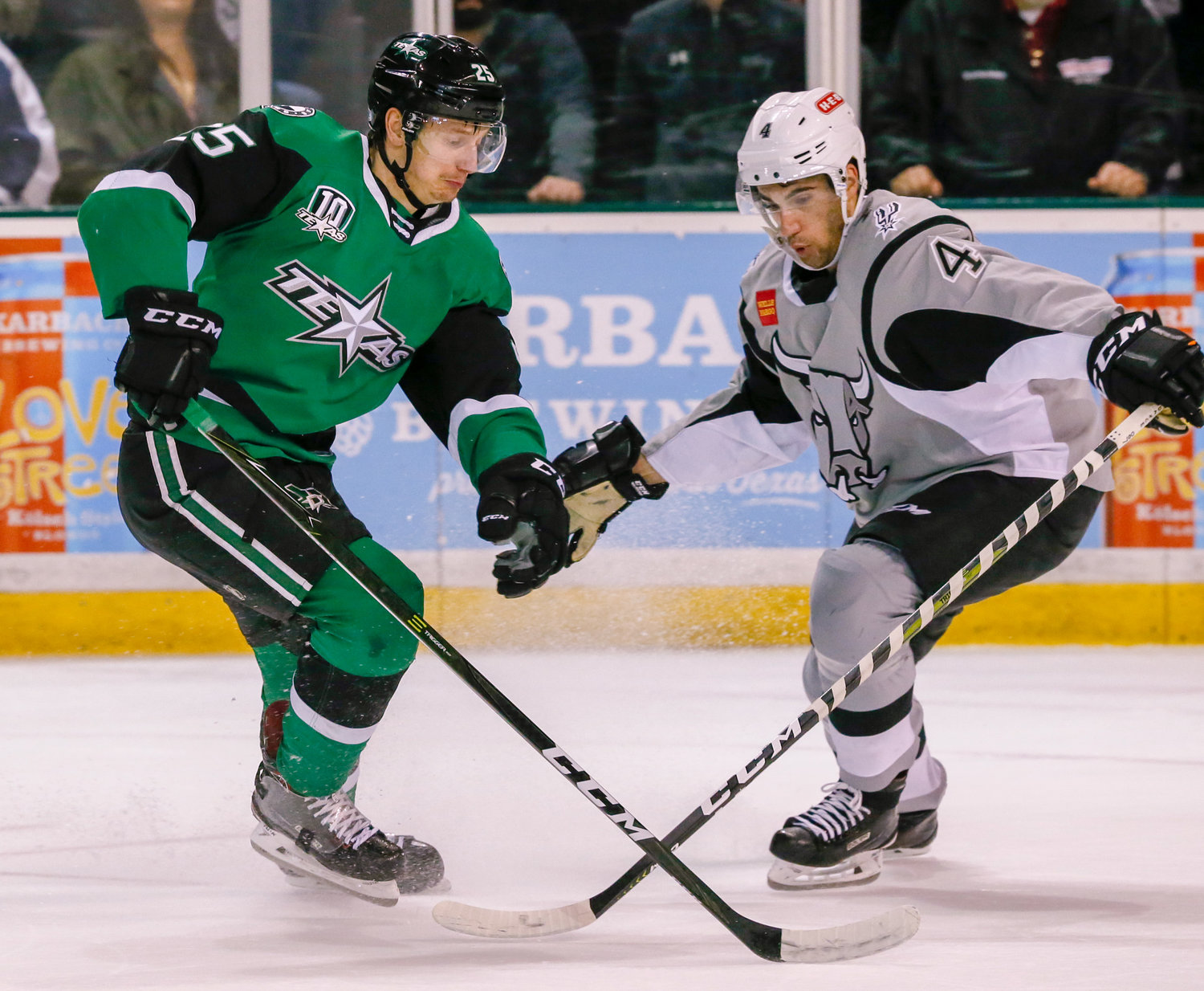 Denis Gurianov, left, and the Texas Stars lost to the San Antonio Rampage 3-1 on Saturday night in the regular season. The Stars missed the playoffs for the third time in franchise history this season.