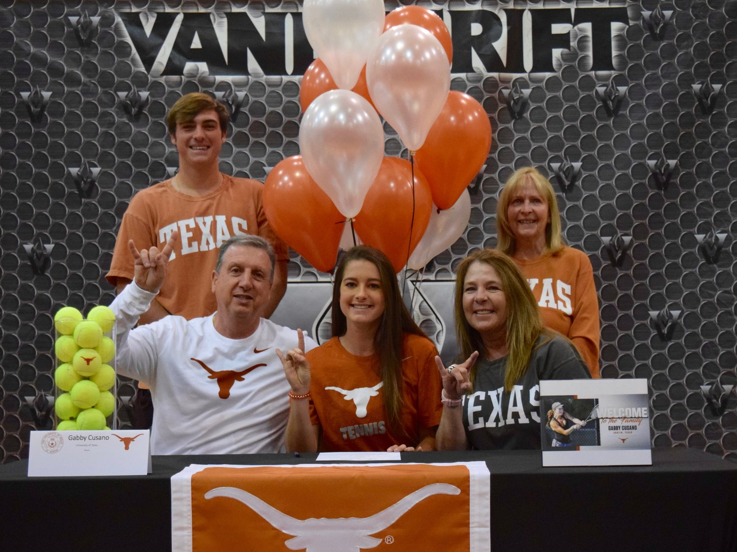 Gabby Cusano signed on to play tennis at Texas at a signing day celebration Friday morning at Vandegrift High School.