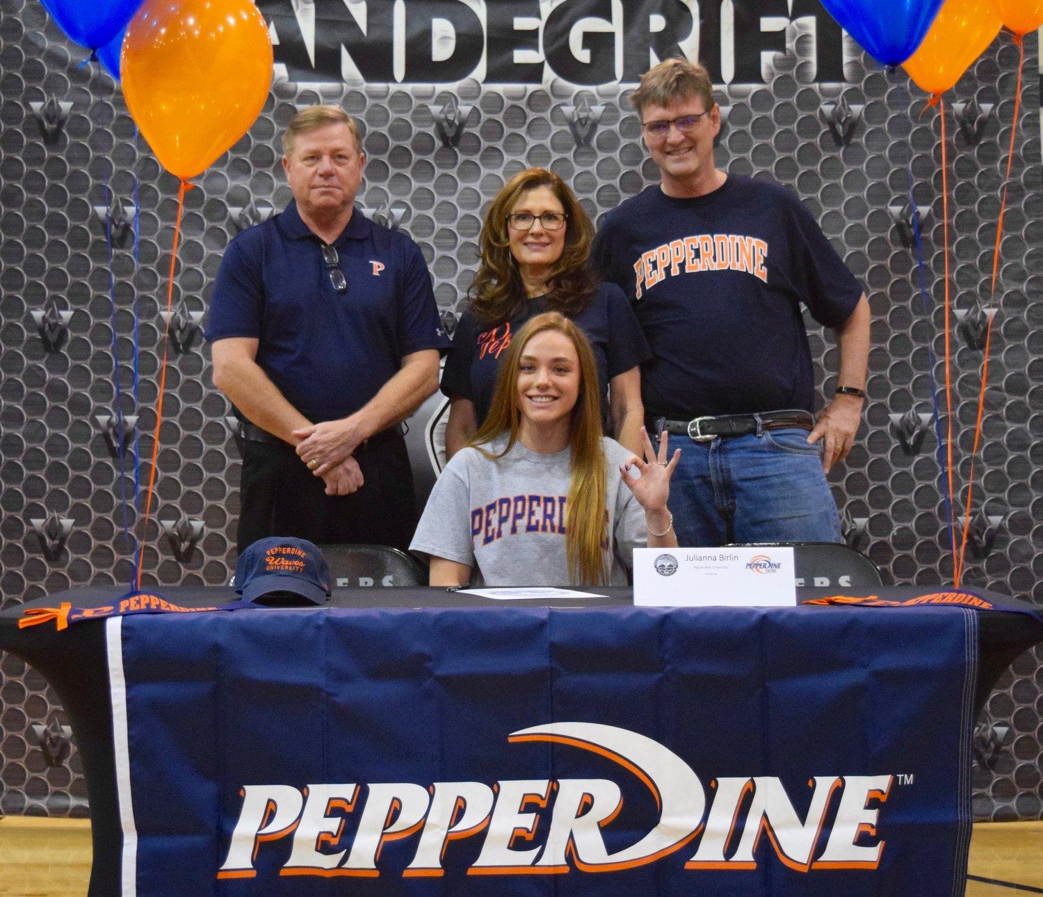 Julianna Birlin signed on to swim at Pepperdine at a signing day celebration Friday morning at Vandegrift High School.