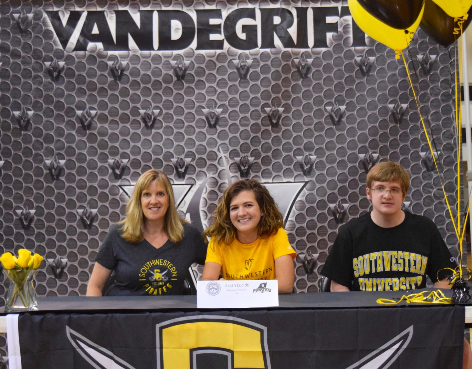 Sarah Lucida signed on to play golf at Southwestern University at a signing day celebration Friday morning at Vandegrift High School.