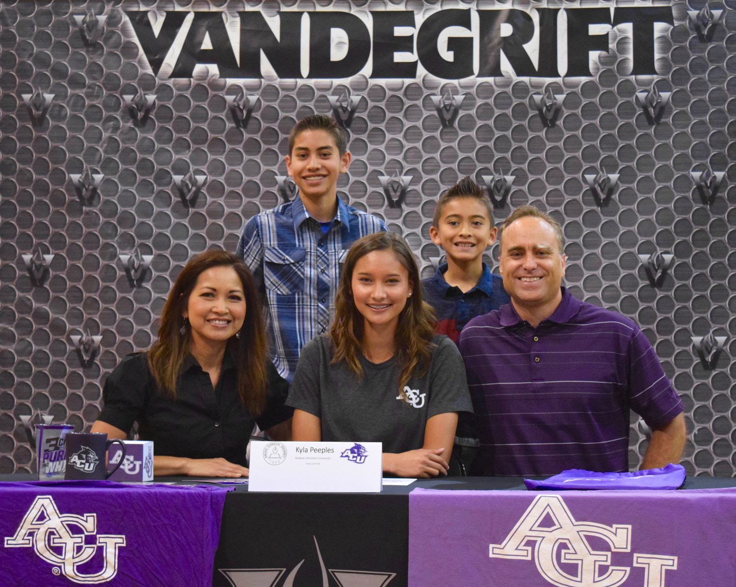 Kyla Peeples singed on to participate in track and field at Ailene Christian at a signing day celebration Friday morning at Vandegrift High School.