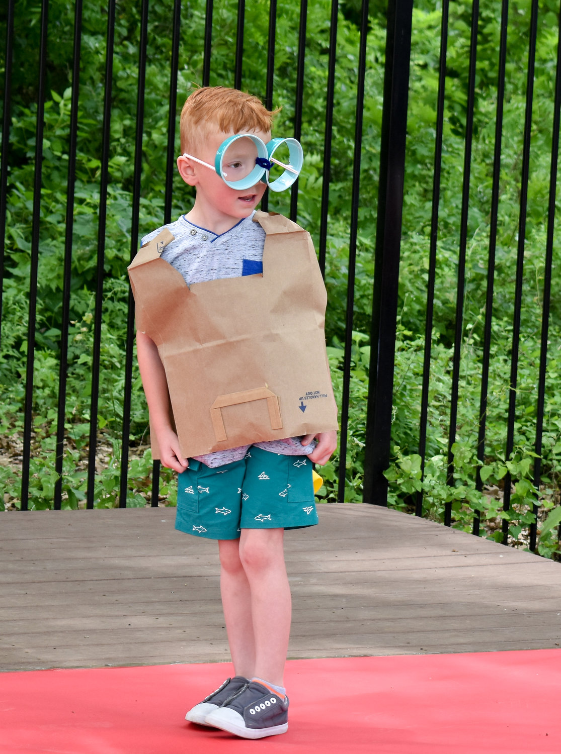 Miles Gouldie, age 5, poses on the runway during the 9th Annual Root for Earth campaign at The Goddard School in Cedar Park on Monday, April 22, 2019.