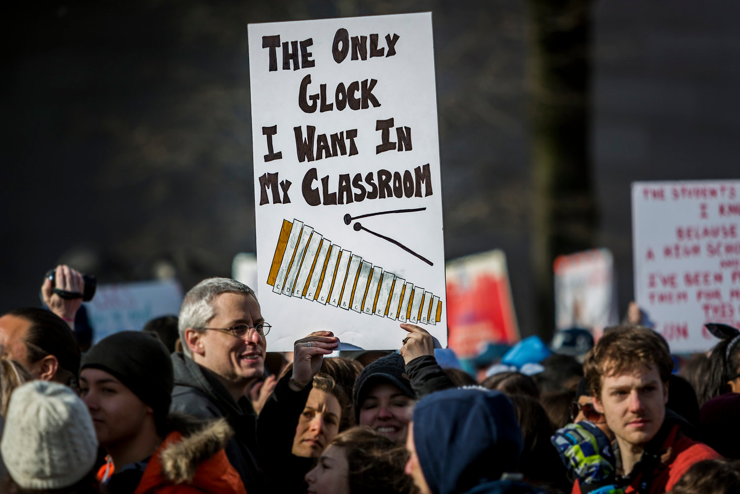 On March 24, 2018, students from Marjory Stoneman Douglas High School in Florida, the scene of a mass shooting Feb. 14, were joined by more than 800,000 people as they march in a nationwide protest demanding sensible gun control laws. The Florida Senate passed a bill that allows classroom teachers to be armed.