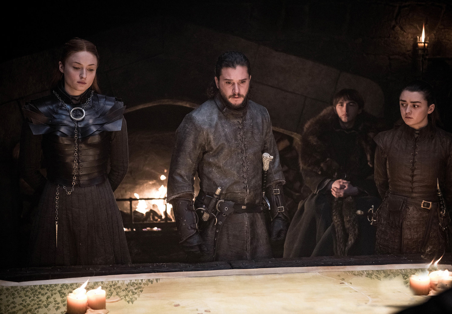 "Sansa Stark (Sophie Turner), Jon Snow/Aegon Targaryen (Kit Harington), Bran Stark (Isaac Hempstead Wright) and Arya Stark (Maisie Williams) in ""Game of Thrones."""