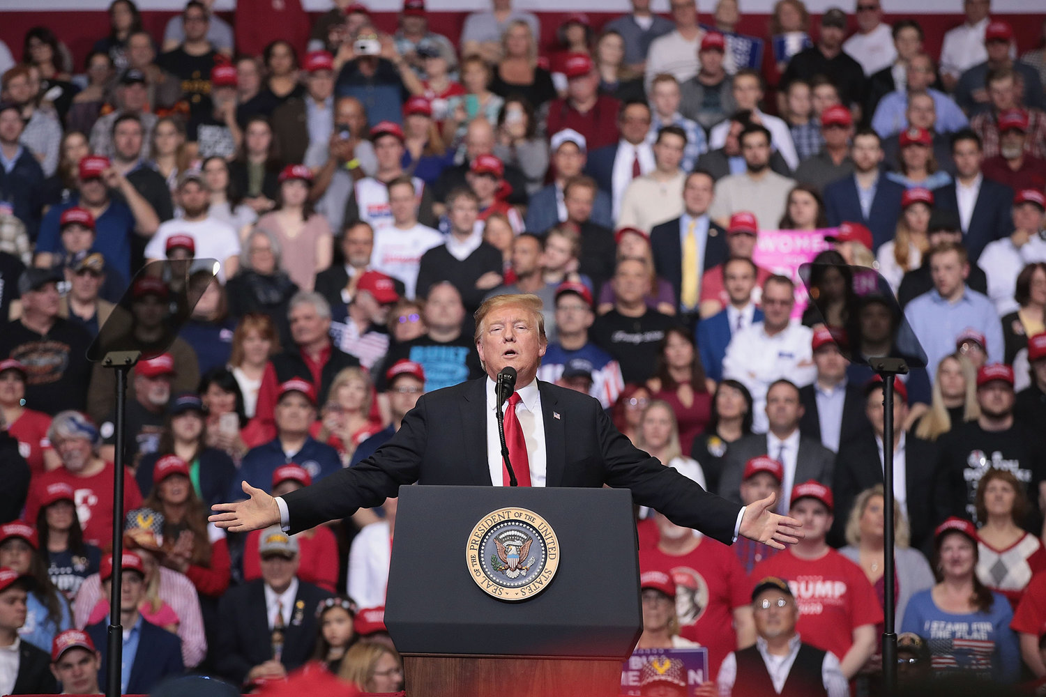 President Donald Trump speaks to supporters during a rally at the Van Andel Arena in Grand Rapids, Mich., on March 28, 2019.