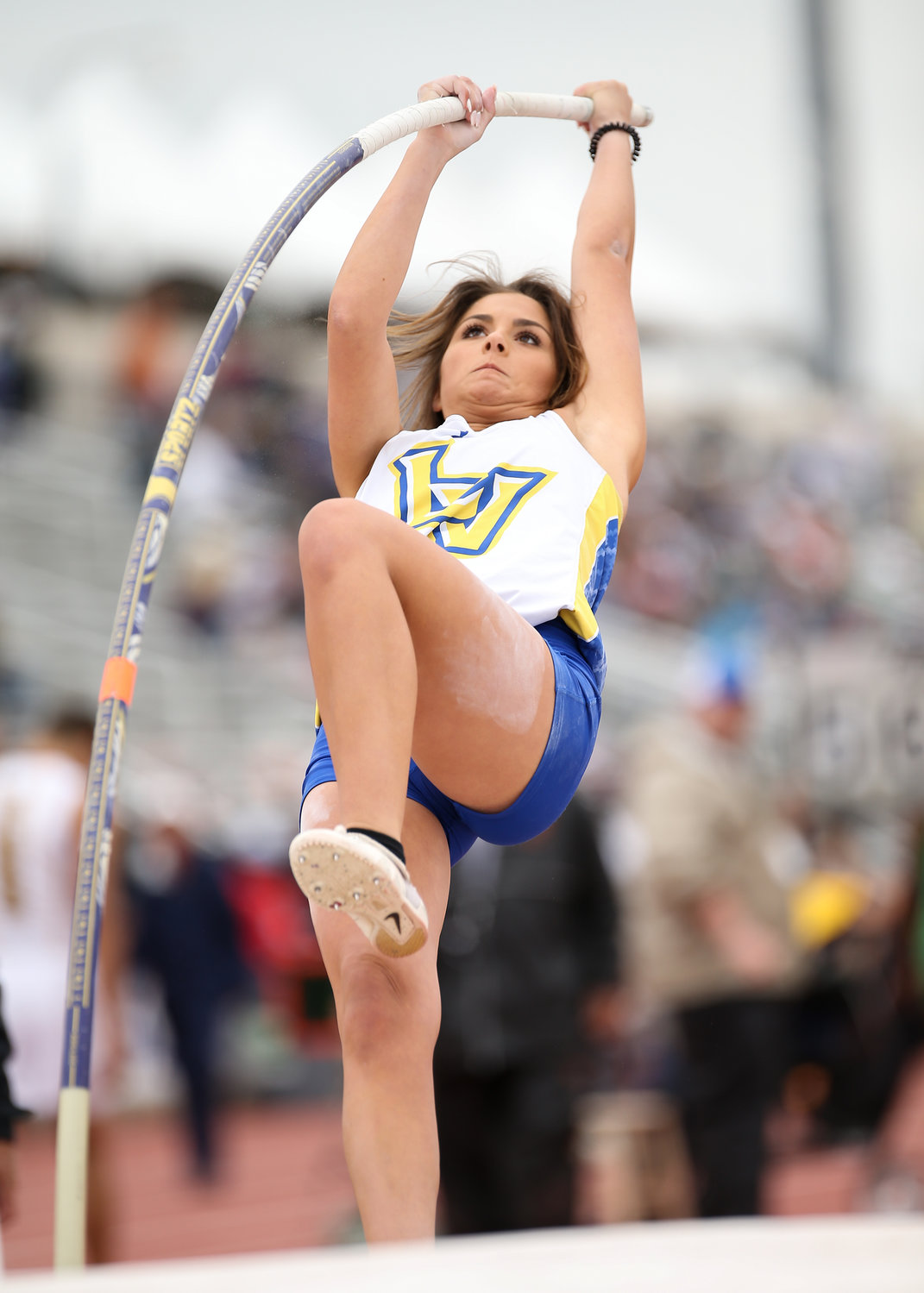 Landry Topo of Lago Vista High School competes in the Class 3A girls pole vault event at the UIL State Track and Field Meet on Friday, May 10, 2019 at Mike A. Myers Stadium in Austin, Texas.