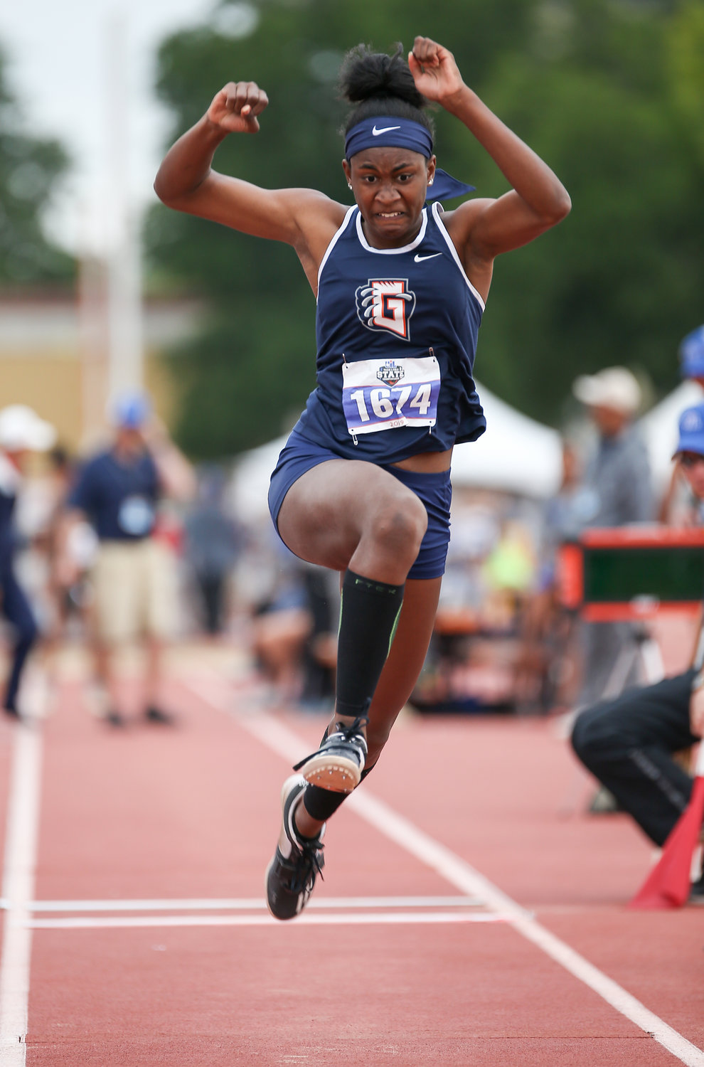 Gabrielle Thomas of Glenn High School competes in the Class 5A girls triple jump event at the UIL State Track and Field Meet on Friday, May 10, 2019 at Mike A. Myers Stadium in Austin, Texas.