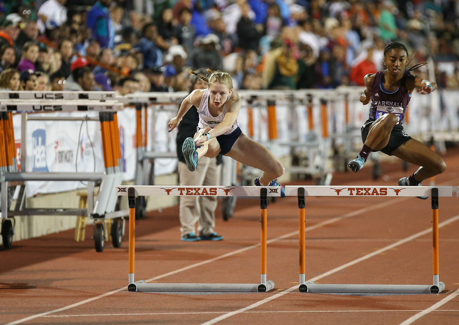 Julie Perry of McNeil High School runs in the Class 6A girls 300-meter hurdles event at the UIL State Track and Field Meet on Saturday, May 11, 2019 at Mike A. Myers Stadium in Austin, Texas.