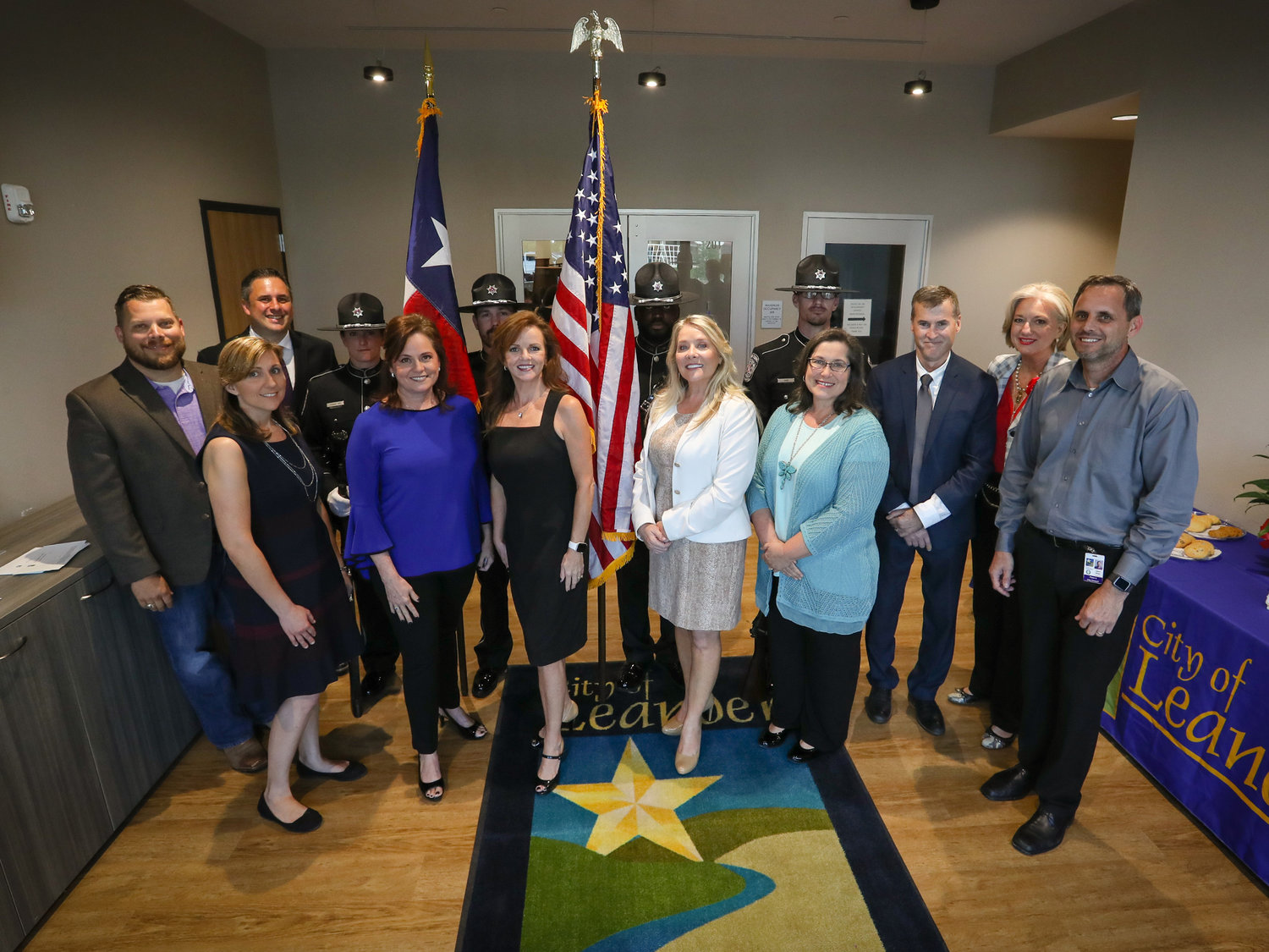 Members of the 2018-19 and the 2019-20 Leander City Councils pose for a photograph during the May 16 regular council meeting at which newly-elected members Kathryn Pantalion-Parker, Jason Shaw and Chris Czernek were sworn into office.