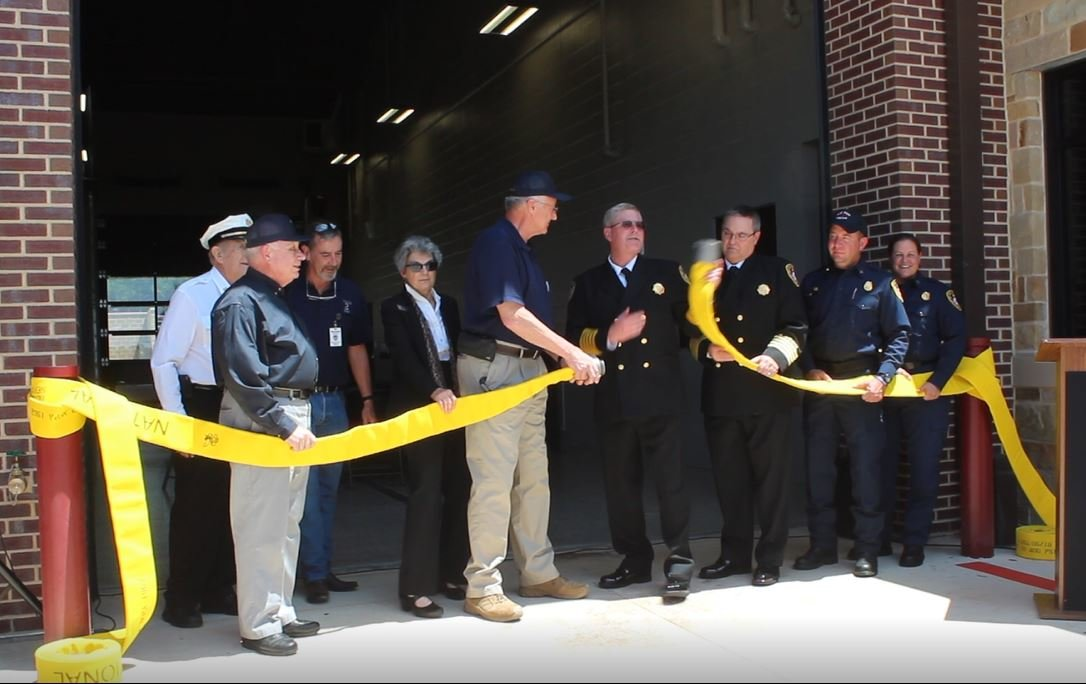 City officials uncouple a fire house to commemorate the new Sam Bass Fire Station 3 in Round Rock during a grand opening ceremony on May 16, 2019.