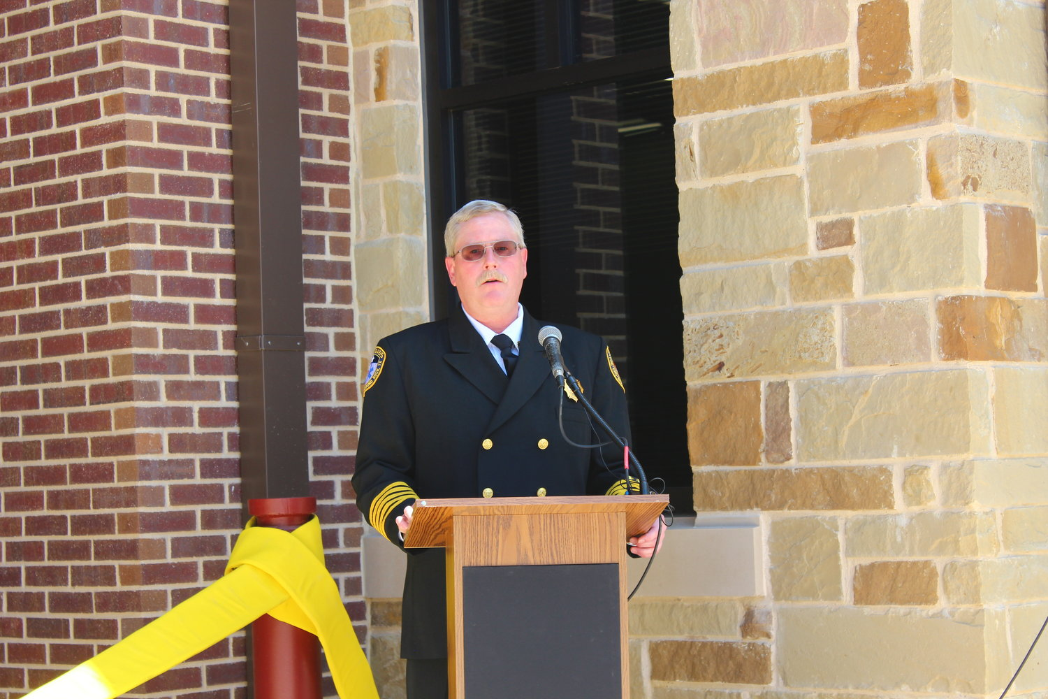 Sam Bass Fire Chief David Kieschnick speaks during the grand opening of the Sam Bass Fire Station 3 in Round Rock during a grand opening ceremony on May 16, 2019.