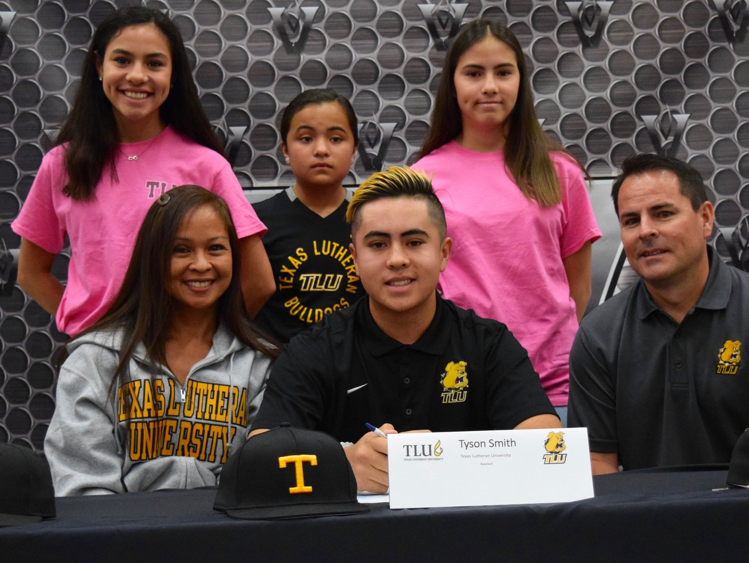 Tyson Smith signed to play baseball at Texas Lutheran University at a ceremony Tuesday morning at Vandegrift High School.