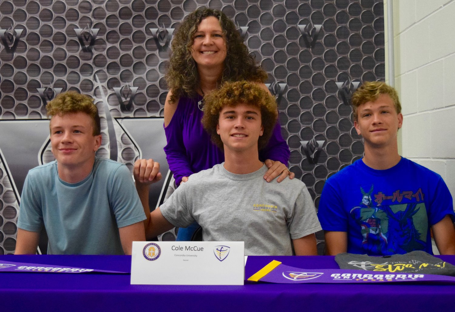 Cole McCue signed to play soccer at Concordia University at a ceremony Tuesday morning at Vandegrift High School.