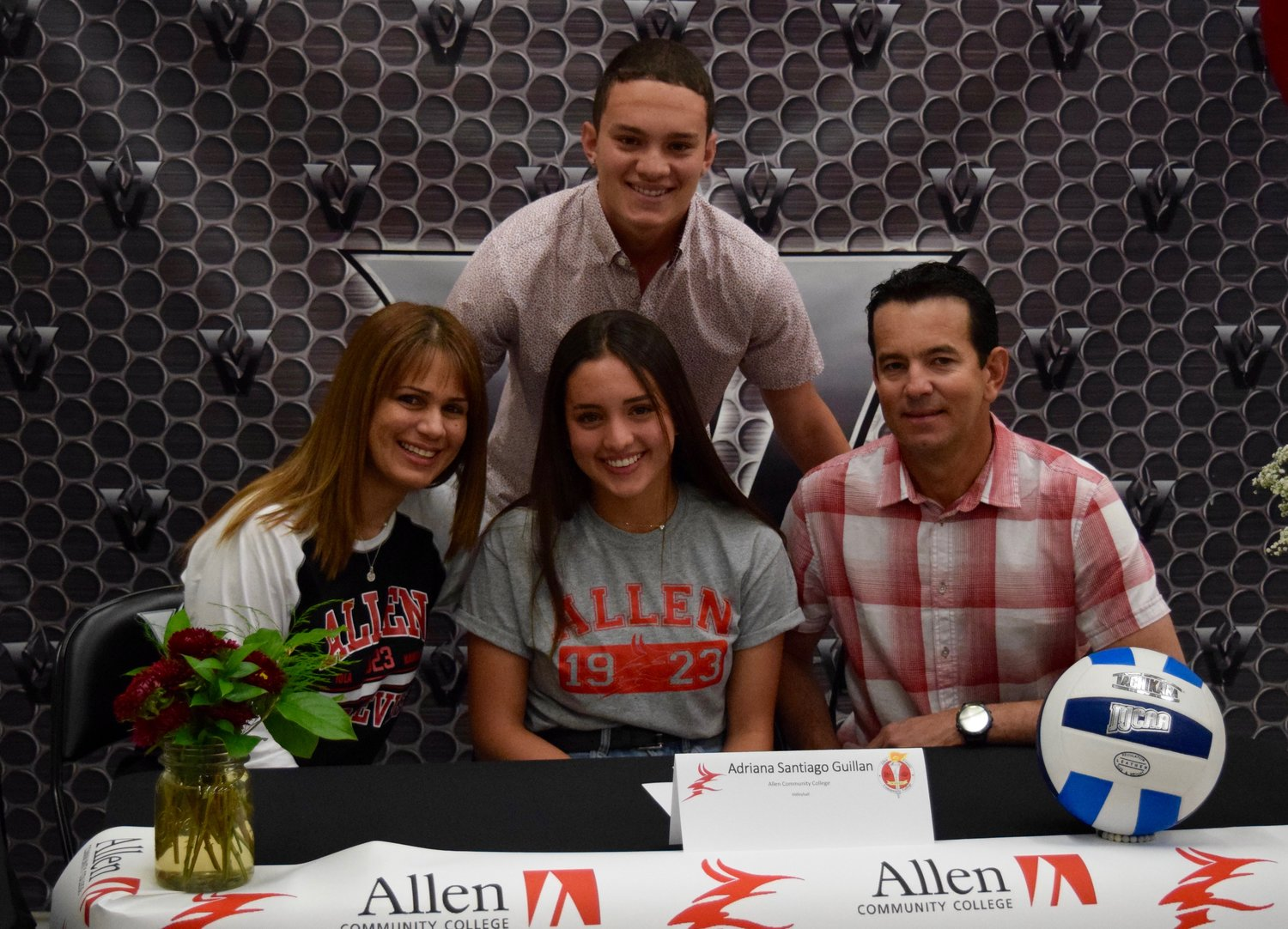 Adriana Santiago Guillan signed to play volleyball at Allen Community College at a ceremony Tuesday morning at Vandegrift High School.