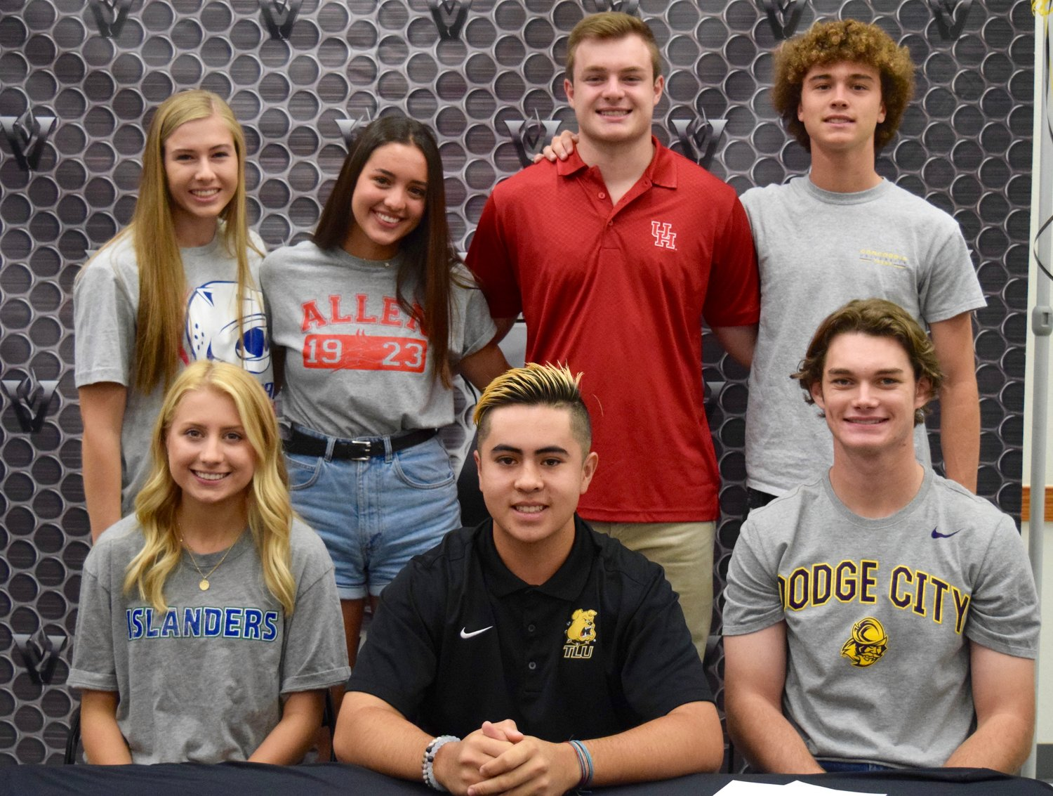 Back row: Ina Edstrom (Track and Field, South Alabama), Adriana Santiago Guillen (Volleyball, Allen Comunity College), Davis Beal (Football, Houston), Cole McCue (Soccer, Concordia). Front row: Addie Yeats (Beach Volleyball, A&M Corpus Christi), Tyson Smith (Baseball, Texas Lutheran), Jake Miller (Baseball, Dodge City Community College).