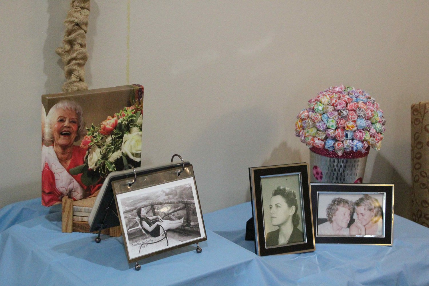 Old pictures of Martha Wetherby were displayed at her 102nd birthday party on May 9, 2019 at The Pointe at Cedar Park.