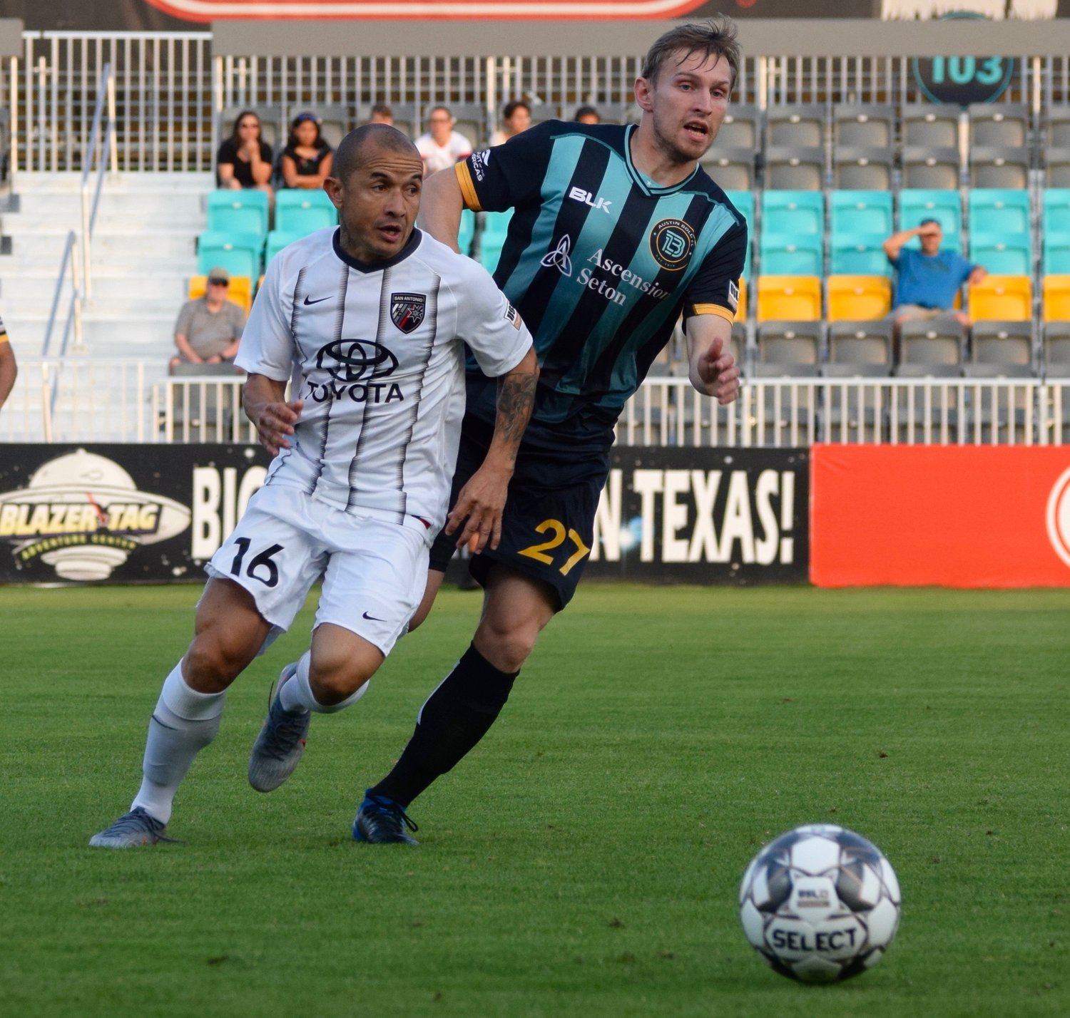 Valeriy Saramoutin, right, and Austin Bold FC beat San Antonio FC 4-2 on Wednesday night in the third round of the U.S. Open Cup.