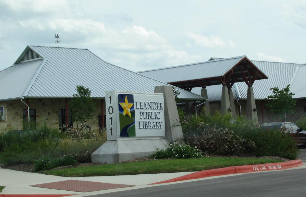 The Leander Public Library, at 1011 South Bagdad Road.