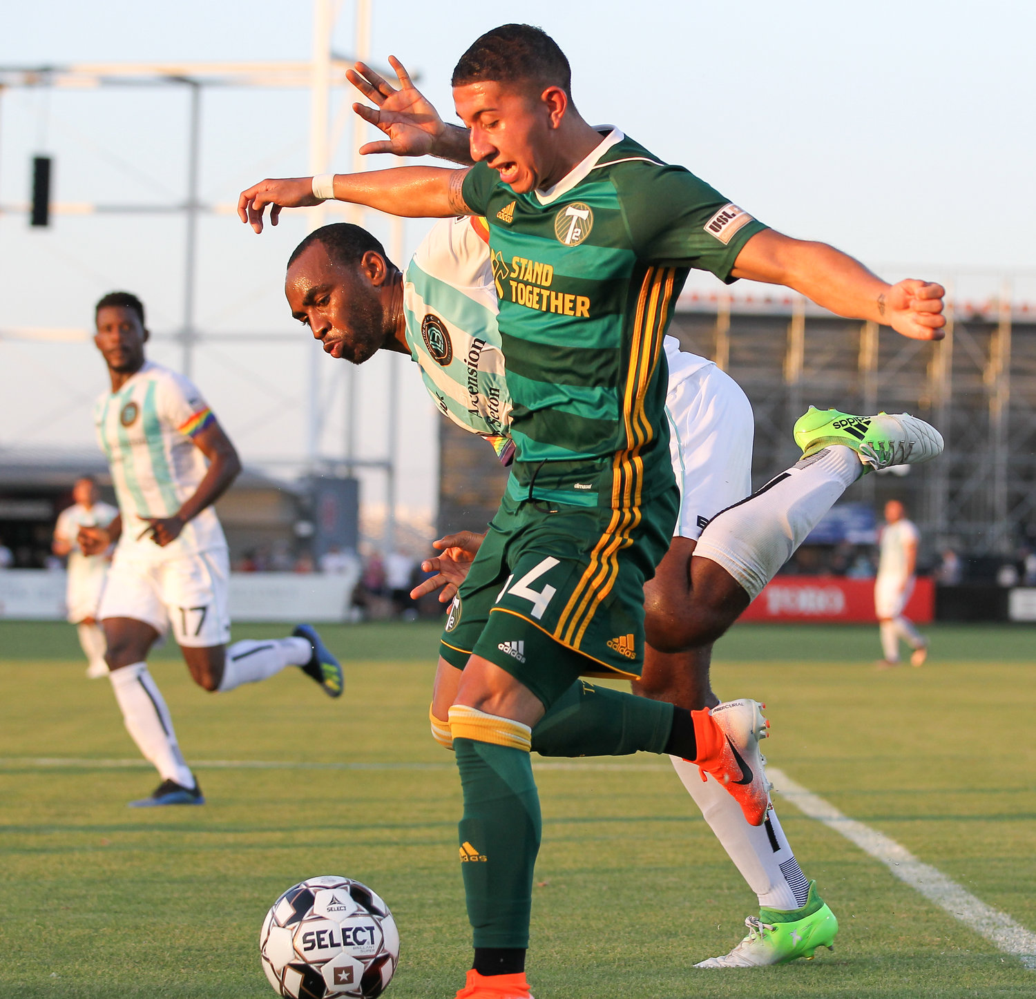 Portland Timbers 2 forward Marvin Loría (44) works against Austin Bold FC defender Amobi Okugo (15) during a USL Championship soccer game between Austin Bold FC and the Portland Timbers 2 on Saturday, June 8, 2019 at Bold Stadium in Austin, Texas.