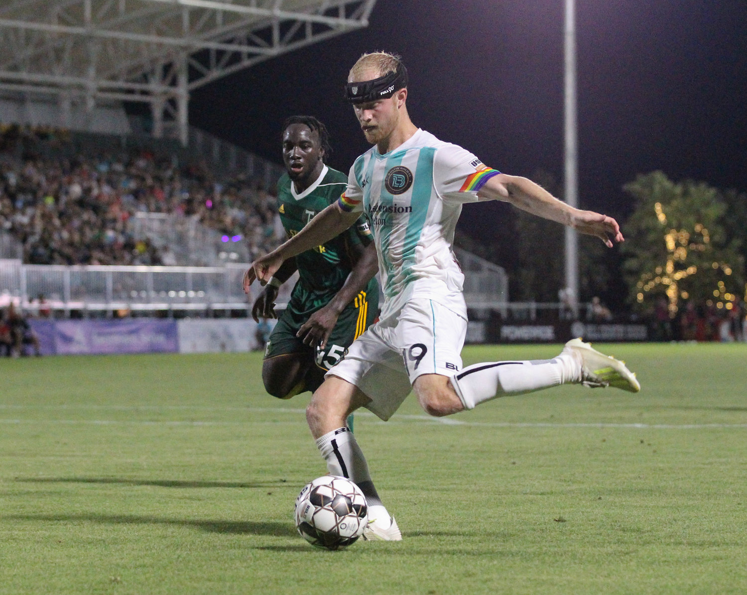 Austin Bold FC forward Kris Tyrpak (19) during a USL Championship soccer game between Austin Bold FC and the Portland Timbers 2 on Saturday, June 8, 2019 at Bold Stadium in Austin, Texas.
