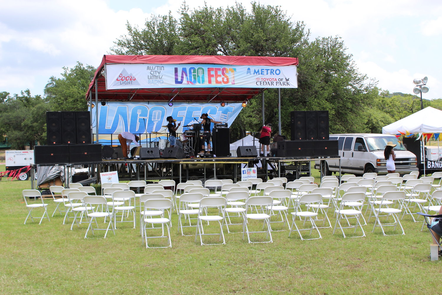 The music stage at LagoFest toward the beginning of the festival on June 16, 2019.