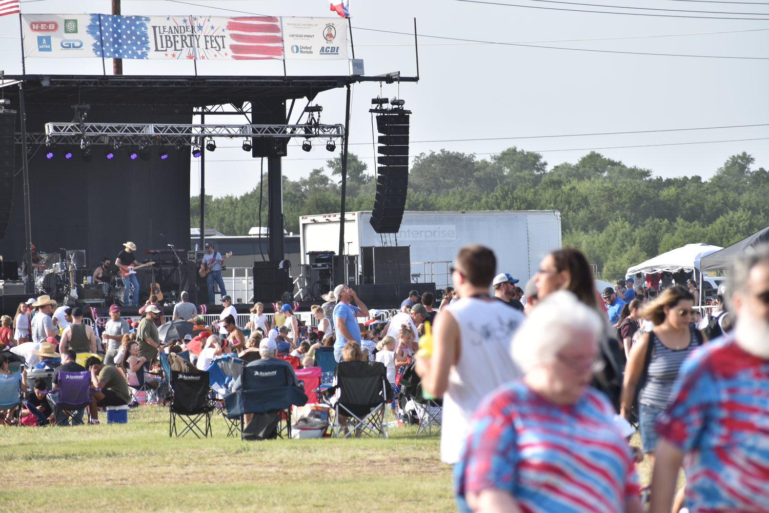 The stage set up by the city for musical performances by Jason Boland & The Stragglers and Mike Ryan during Liberty Fest in Leander on Thursday.