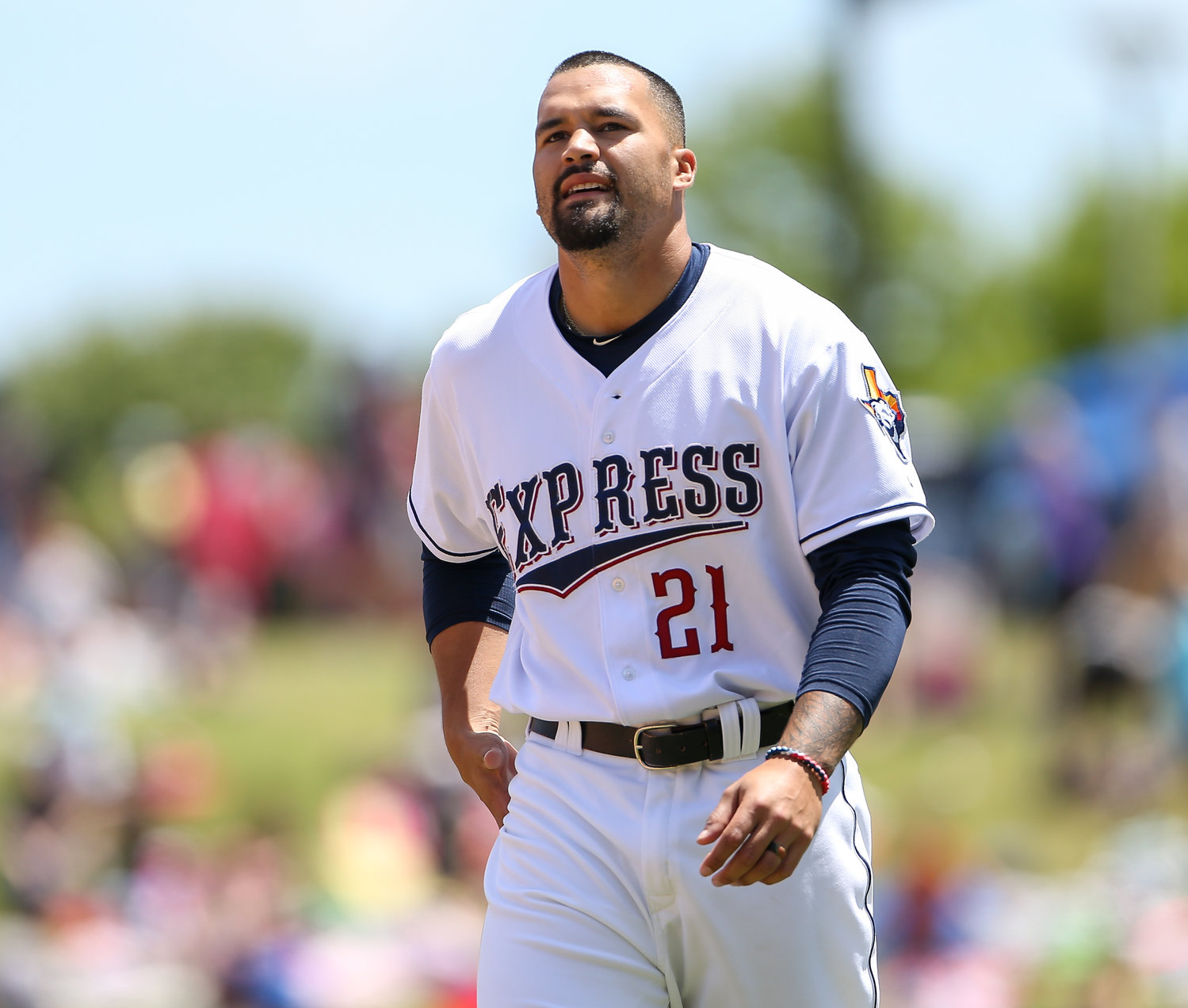 Round Rock Express third baseman Nick Tanielu (21) during a Minor League Baseball game between Round Rock and Memphis on April 15, 2019 at Dell Diamond in Round Rock, Texas.