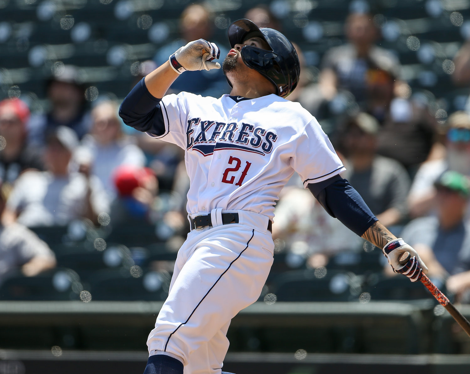 Round Rock Express third baseman Nick Tanielu (21) at bat during a Minor League Baseball game between Round Rock and Memphis on April 15, 2019 at Dell Diamond in Round Rock, Texas.
