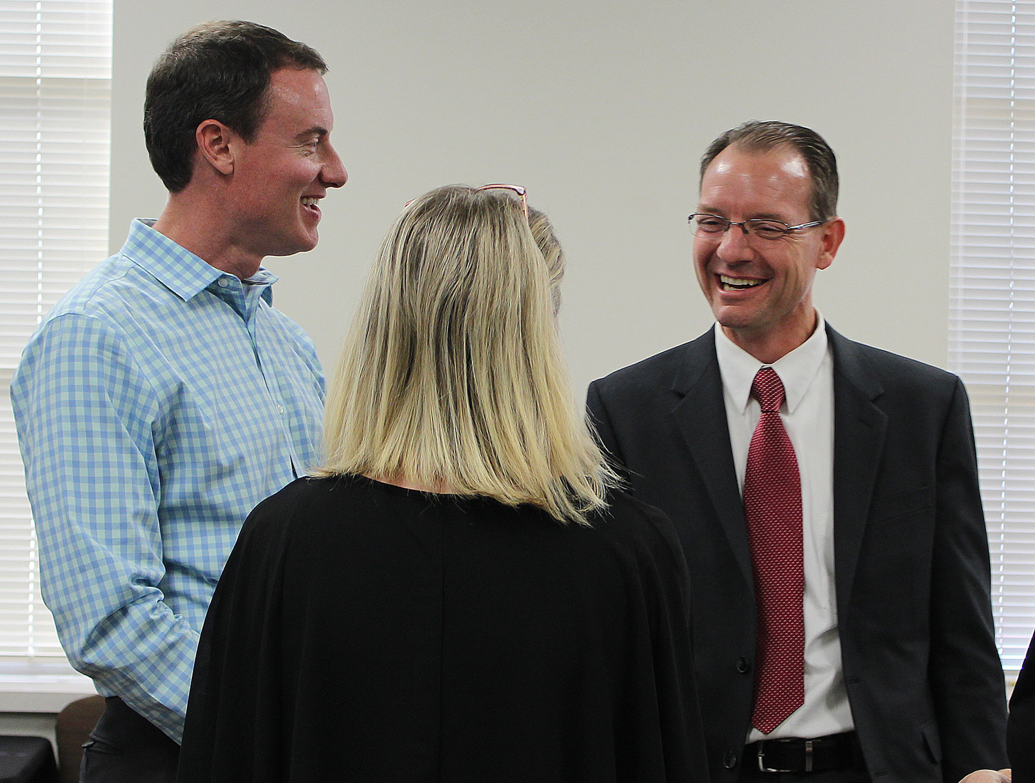 Dripping Springs ISD superintendent Bruce Gearing greets local parents after being named the finalist for the Leander ISD Superintendent position.