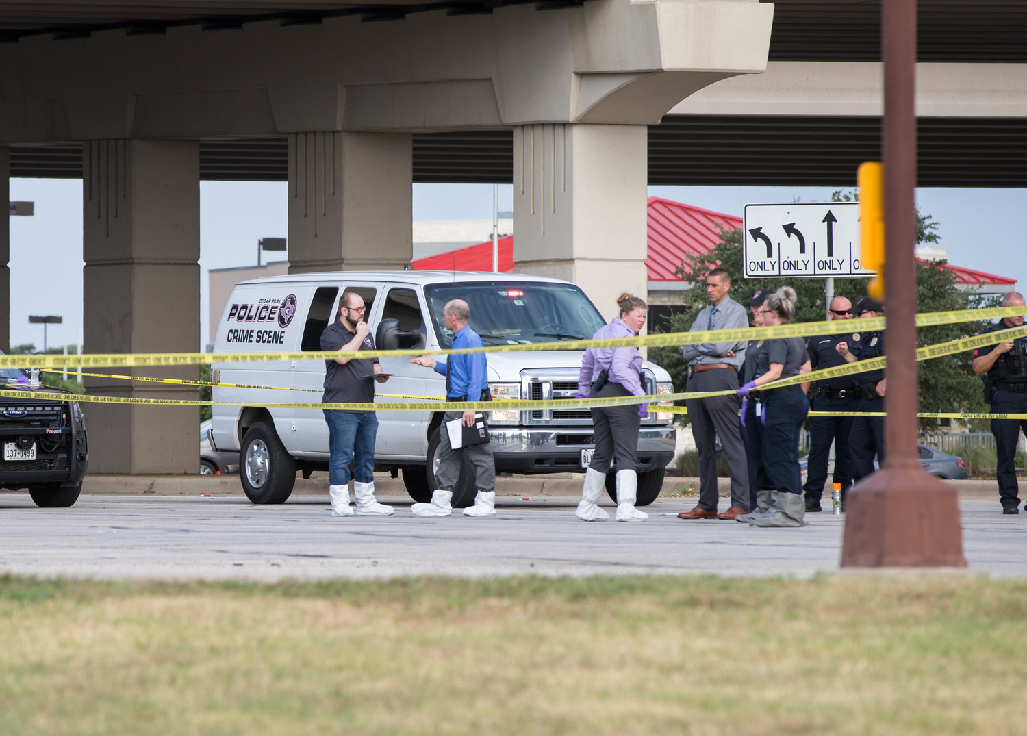 The scene where police say someone shot  into a vehicle around 6 a.m. Saturday, August 3, 2019, killing one person and seriously injuring another, at the intersection of 183A Toll and East Whitestone Boulevard in Cedar Park.