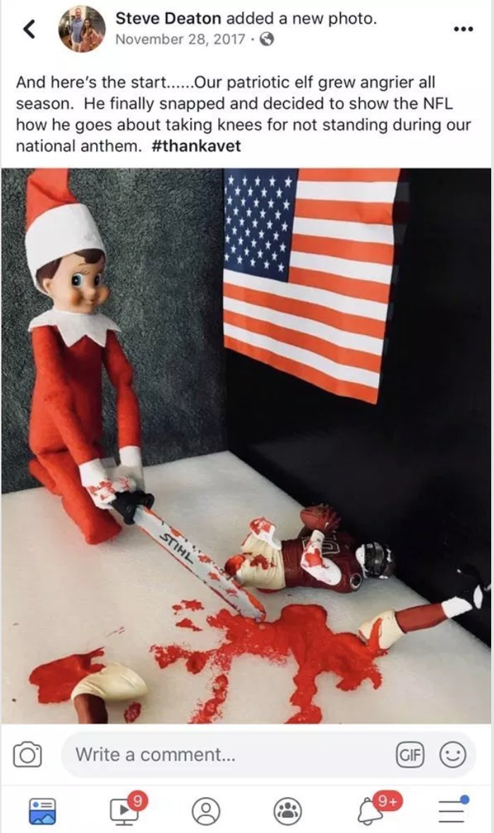 Williamson County Sheriff's Office Patrol Division Cmdr. Steve Deaton generated controversy by posting a photo depicting an Elf on the Shelf doll dismembering a black athlete.