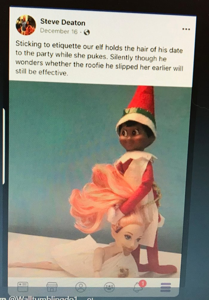 Williamson County Sheriff's Office Patrol Division Cmdr. Steve Deaton generated controversy by posting a photo depicting date rape joke with an Elf on the Shelf doll and a Barbie doll.