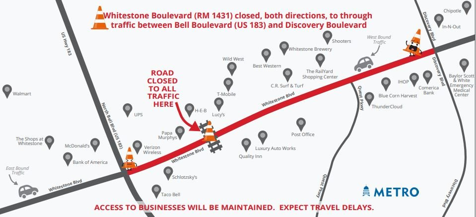 Capital Metro will close Whitestone Boulevard/RM 1431 between U.S. 183/Bell Boulevard and Discovery Boulevard over the weekend while performing construction work on the railroad crossing.