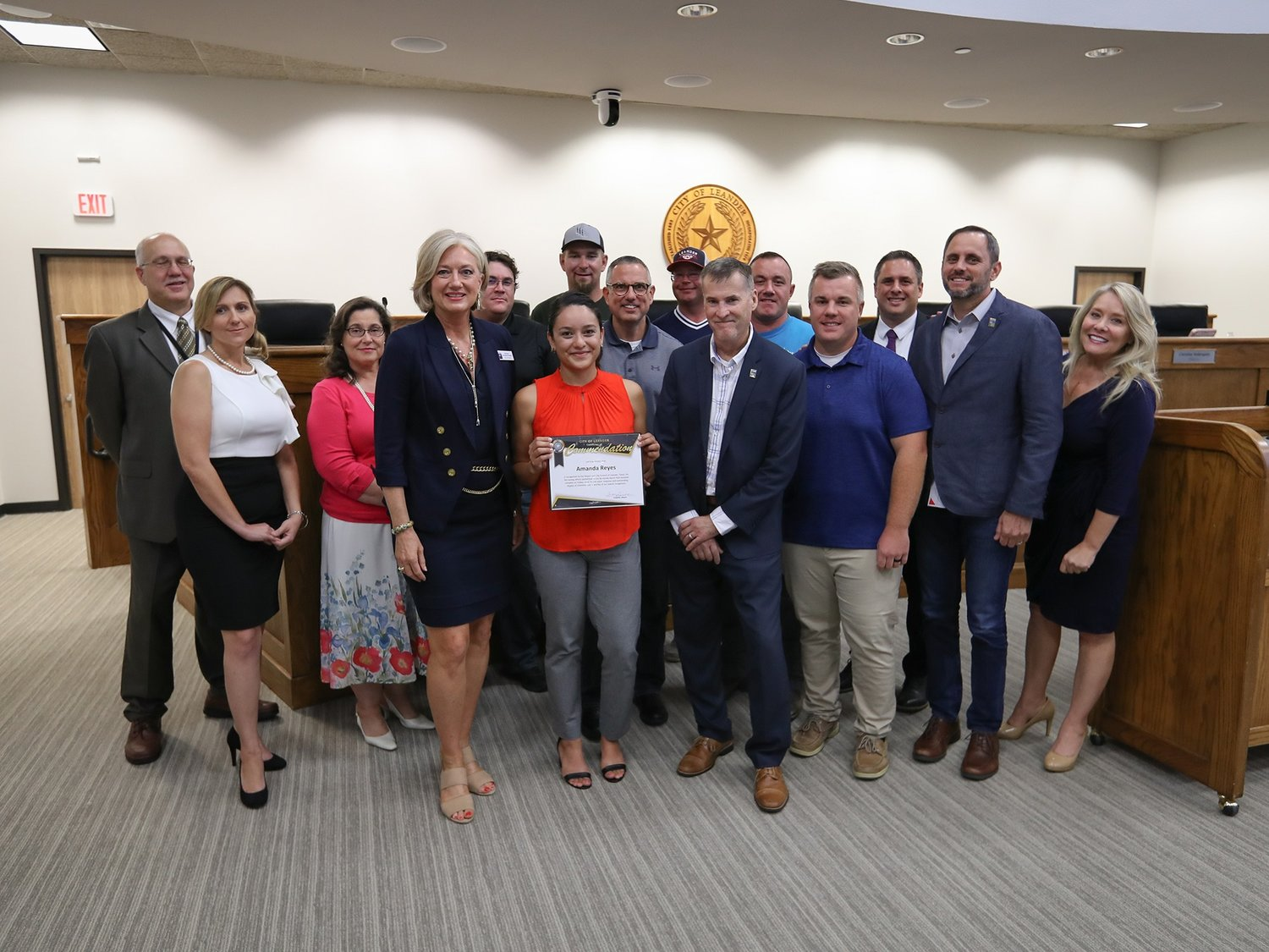 The Leander City Council honored City of Austin Firefighter Amanda Reyes alongside area residents Chase Howard, Daniel Parker, Darrell Brown, Jason Belk, and Lewis Ekle for helping to save a young woman's life on June 14 at Benbrook Ranch Park.
