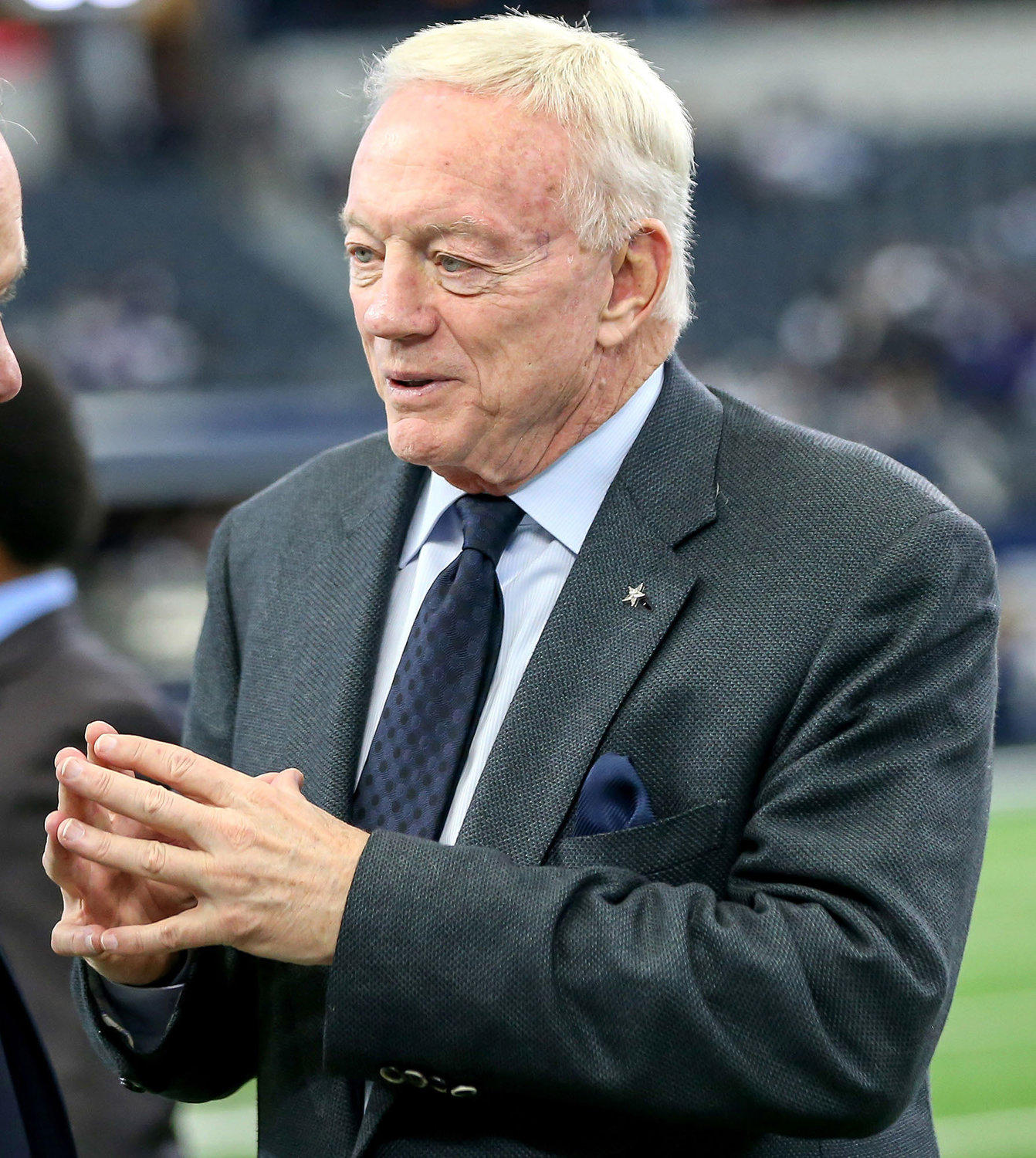 Dallas Cowboys owner Jerry Jones on the field before a game against the Baltimore Ravens on November 20, 2016, at AT&T Stadium in Arlington, Texas.