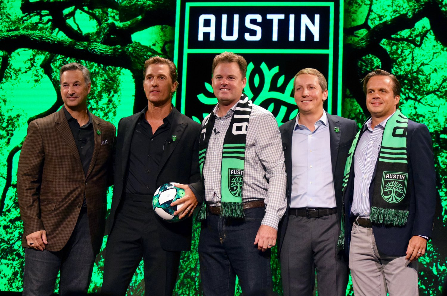 From left: Austin FC owners Eddie Margain, Matthew McConaughey, Anthony Precourt, Eduardo Margain and Bryan Sheffield at a special announcement on Friday afternoon in downtown Austin.