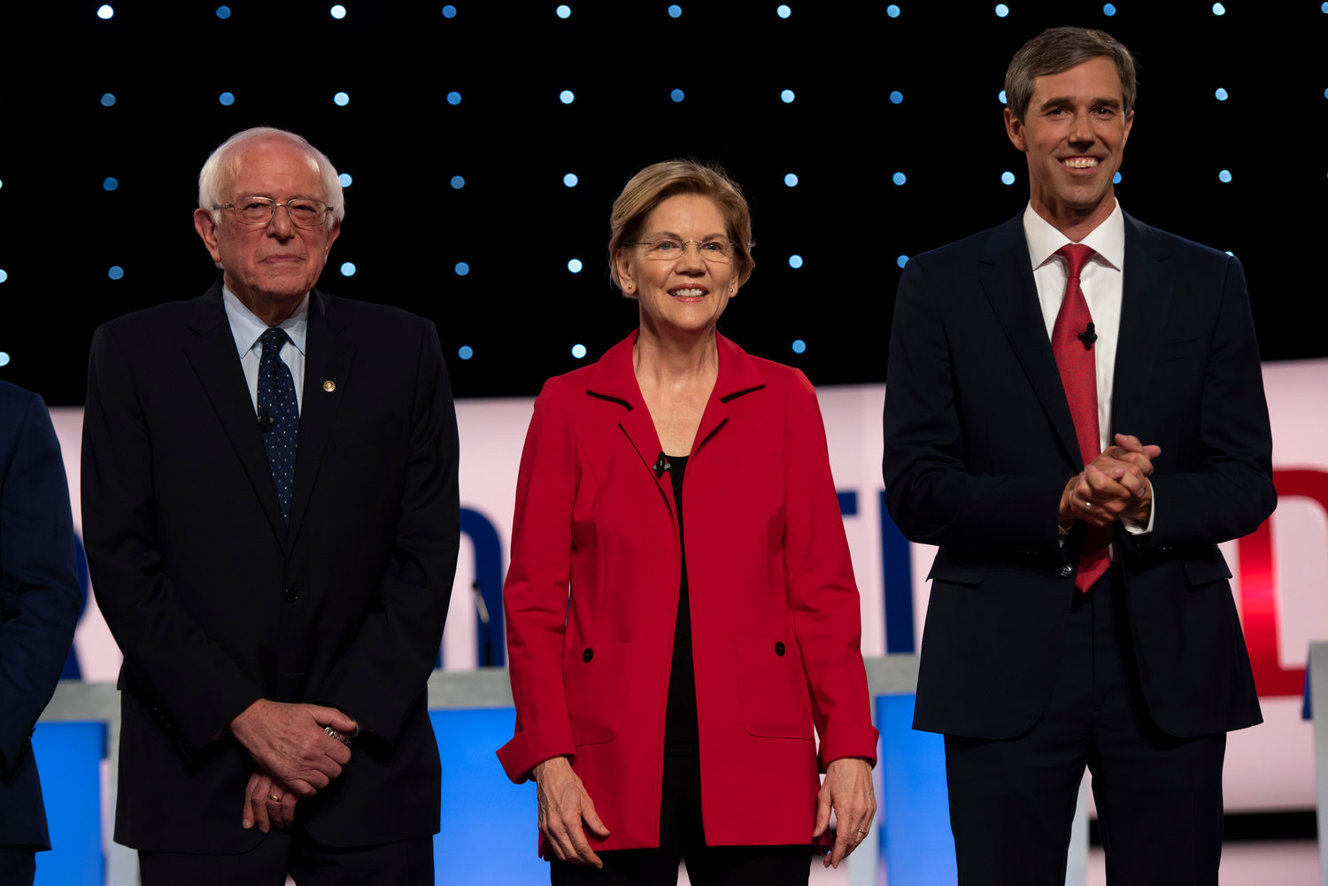 U.S. Sen. Bernie Sanders, I-Vt., U.S. Sen. Elizabeth Warren, D-Mass., Former U.S. Rep. Beto O'Rourke, D-Texas, before the start of the second Democratic primary debate in July. Tanya Moutzalias | MLive.com