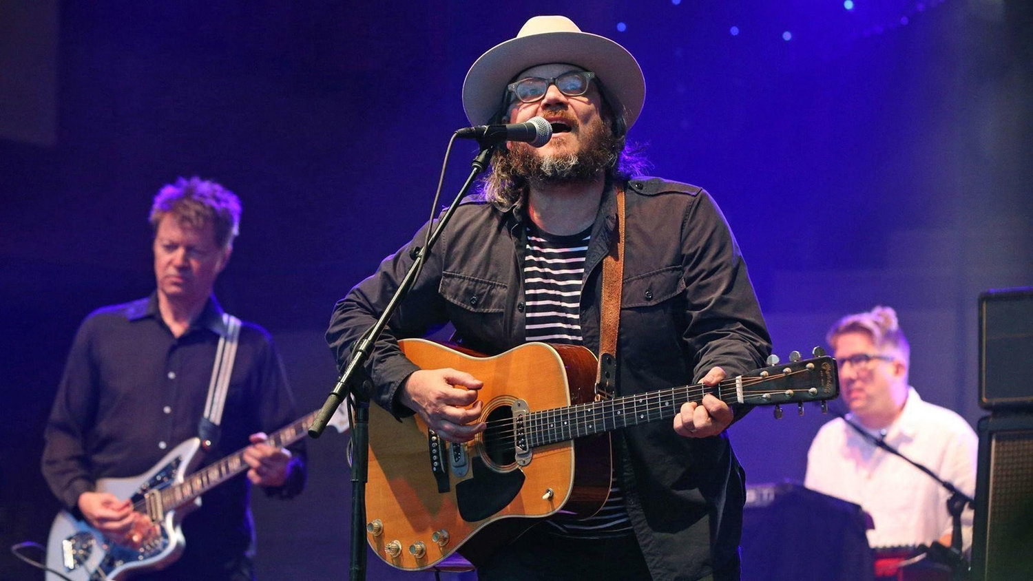 From left to right, Nels Cline, Jeff Tweedy and Mikael Jorgensen, of Wilco, performing at Pritzker Pavilion, in Millennium Park, downtown Chicago, on Sunday Aug. 21, 2016. (Nuccio DiNuzzo/Chicago Tribune/TNS)