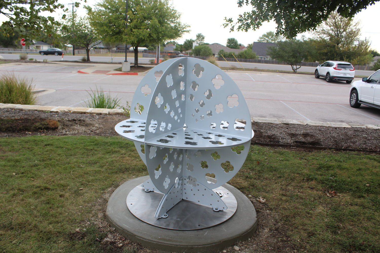 The second art bench resembling a quasar was created by artist Elizabeth Akamatsu was installed Thursday at the Leander Public Library.