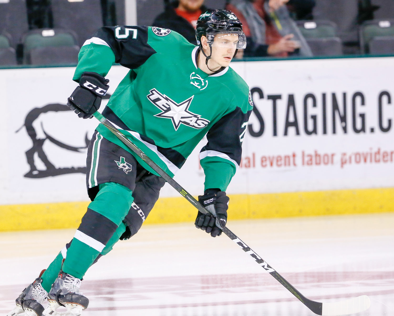 Denis Gurianov scored a hat trick in the first game of the weekend series for the Stars. texas won once and lost in a shootout in a two-game series with the Iowa Wild.