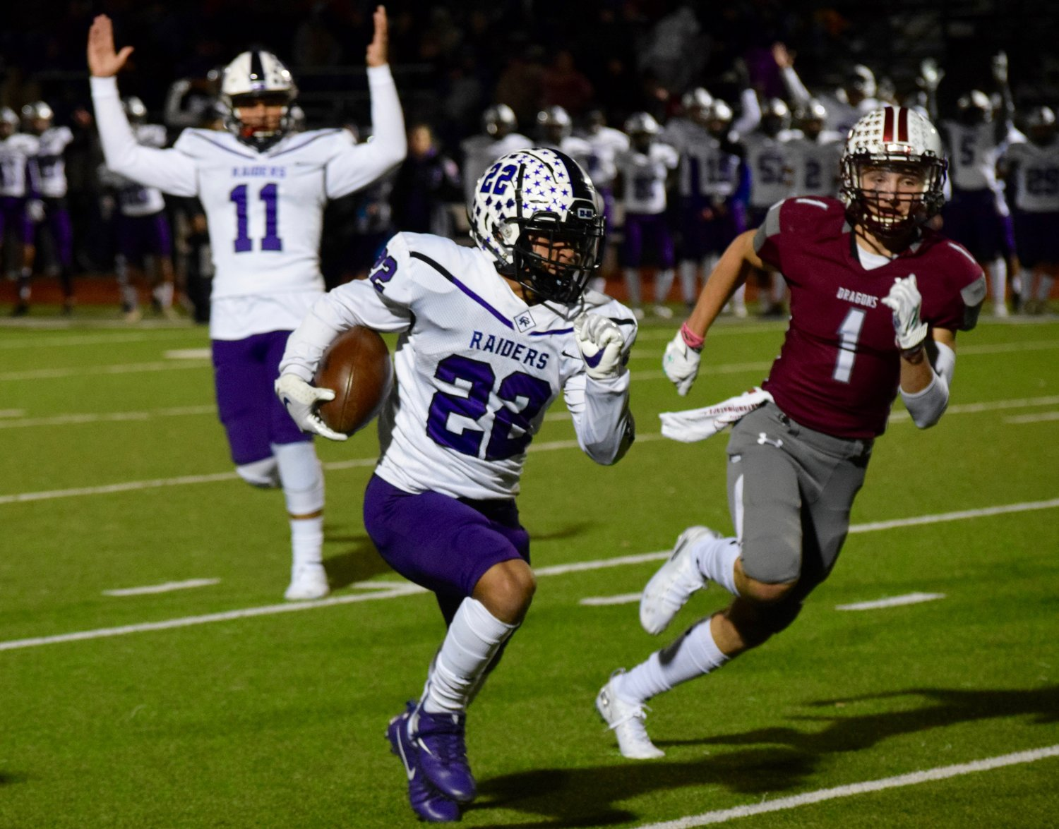 Cedar Ridge running back Deuce Vaughn carried the ball 38 times for 375 yards and four touchdowns in the Raiders' win over Round Rock on Friday night.