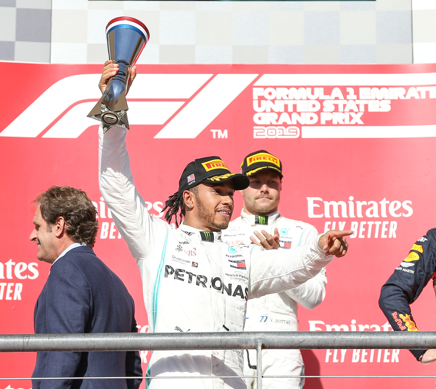 Mercedes AMG Petronas Motorsport driver Lewis Hamilton (44) of Great Britain gestures to the crowd after winning a sixth world title and finishing second at the Formula 1 United States Grand Prix at Circuit of the Americas in Austin, Texas, on Nov. 3, 2019.