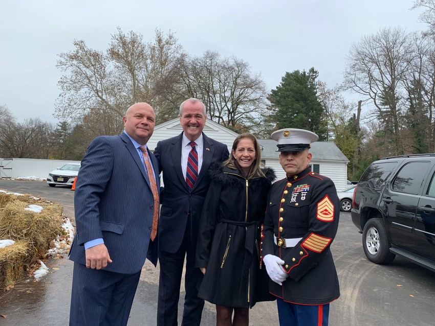 "Joe Hagan, CEO of Original Soupman and founder of non profit ""Soup for Troops"" with New Jersey Governor Philip Murphy, First Lady Tammy Murphy and U.S Marine  ""Gunnery"" Mario Monaco."