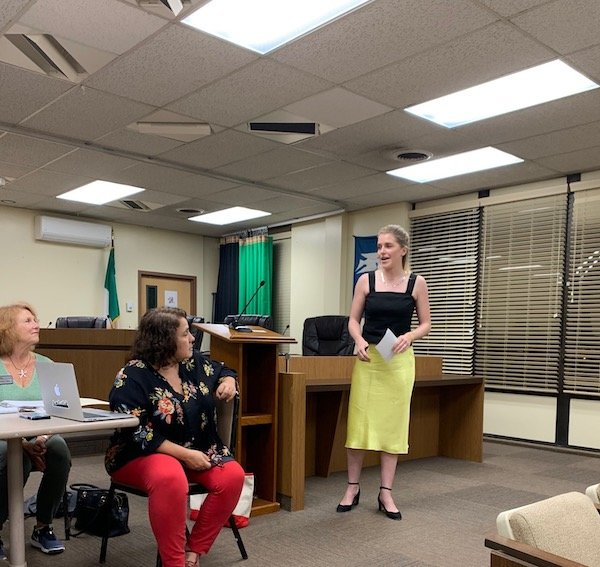 Nicol Sobczyk, founder of Clean Montclair, speaks to the Montclair Environmental Commission, and addresses the audience at the September 11th meeting.