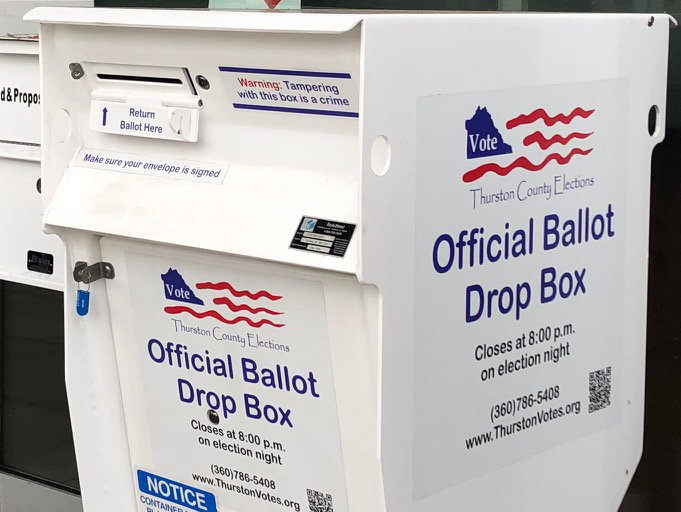 Thurston County has placed ballot drop boxes such as this in 29 locations throughout the county.