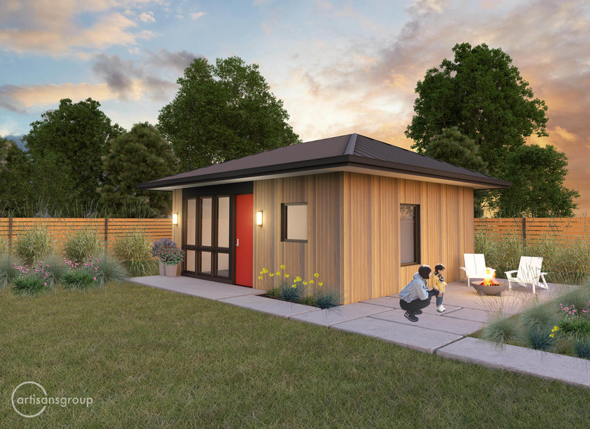 Accessory dwelling units up to 850 square feet are allowed to be permitted and built on single-family properties in Olympia as of the city council's decision on Dec. 8, 2020. The above rendering is for a one-bedroom cottage.