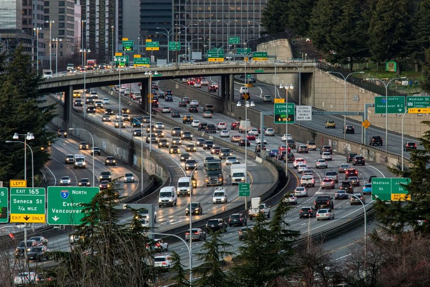 I-5 traffic snakes through downtown Seattle during the evening rush hour, Dec. 17, 2020.