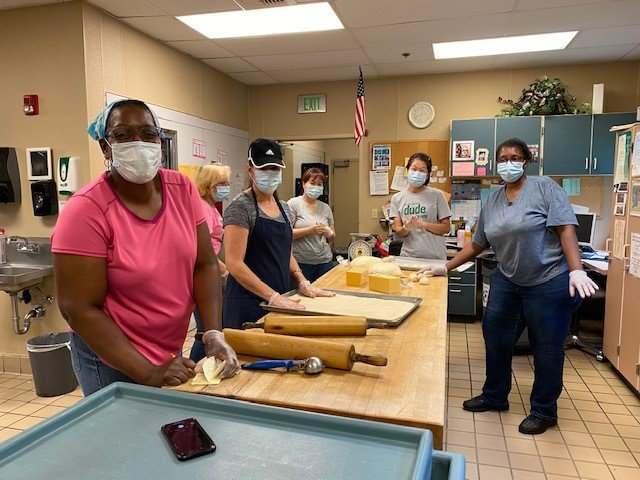 North Thurston Public Schools food services staff have served 675,000 meals to students since schools were closed in March 2020.  From left to right: Ann Carter, Julie Jackson, Maria Montenegro, Semi Cho, Enah Pak,  Michelle Payne.